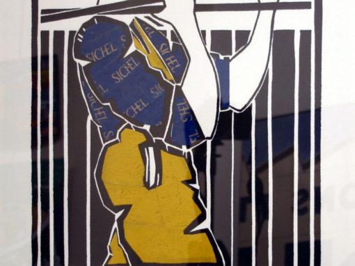 Olivier Lapicque – Affiche Galerie Théallet 2011 rehaussée de plombs étamés