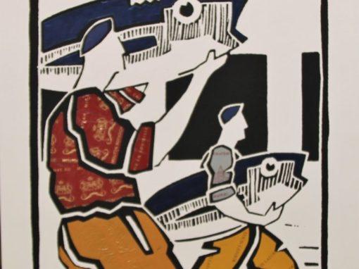 Olivier Lapicque – Affiche rehaussée de plombs étamés